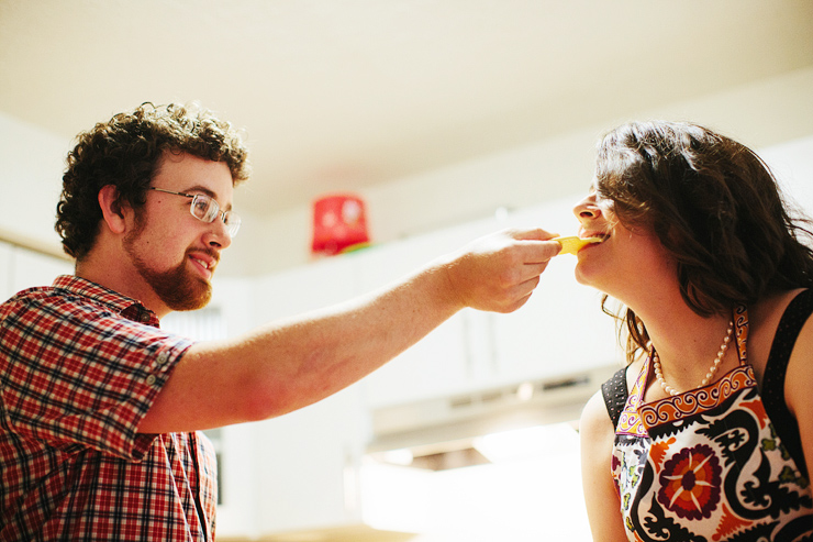 cooking dinner engagement pictures