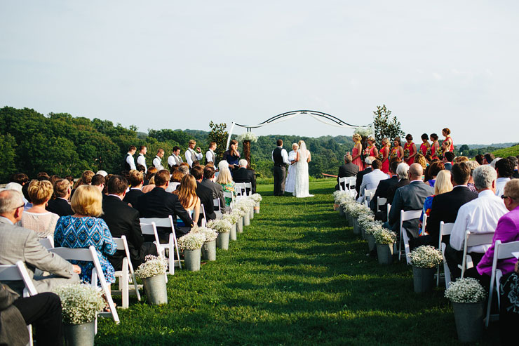 wedding ceremony at the reserve at bluebird hill
