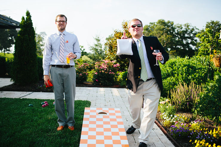 cornhole at a wedding