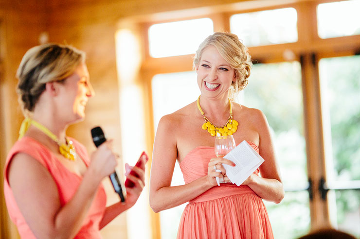 sisters giving a speech at wedding