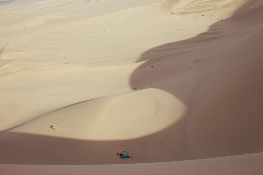 camping trip in dunhuang sand dunes