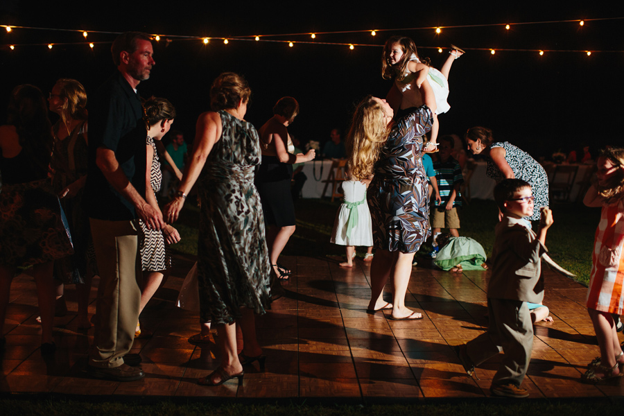 backyard wedding reception with dancing