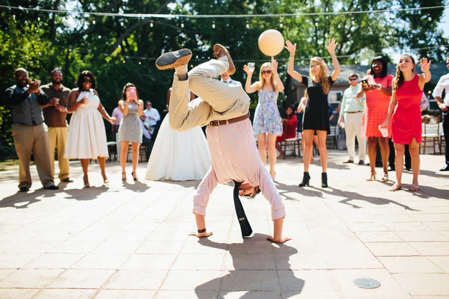 dancing at a wedding during the day